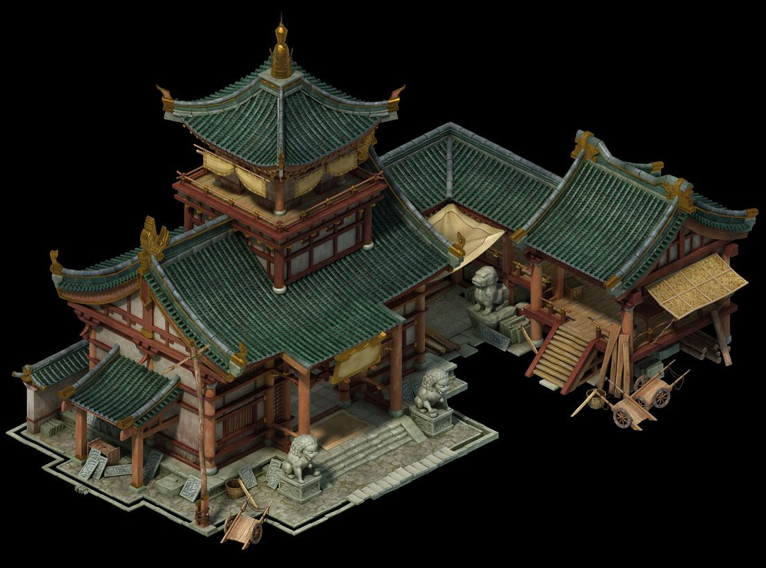 3d Environment Objects And Buildings Chinese Architecture