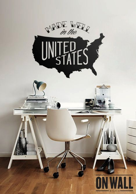 Large Usa Map Vinyl Wall Decal United States Wall Sticker Made
