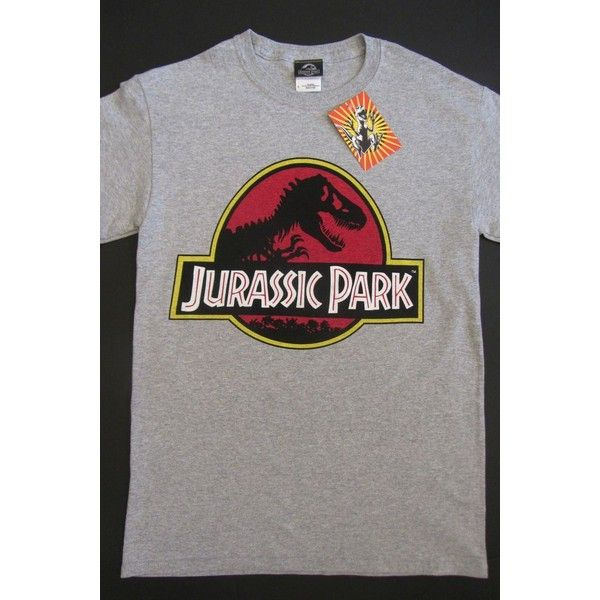 Authentic Mens Jurassic Park Universal Studios Retro Movie T-Shirt... ❤ liked on Polyvore featuring men's fashion, men's clothing, men's shirts and men's t-shirts
