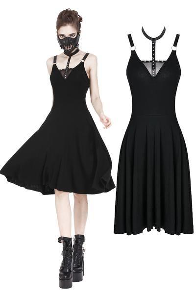 Black Gothic Elegant Lace High-Low Dress DW166