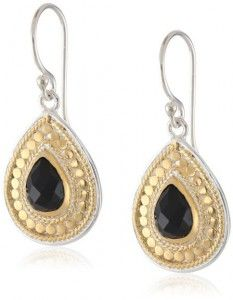 "Anna Beck Designs ""Gili Black Onyx"" 18k Gold-Plated Black Onyx Teardrop Earrings"
