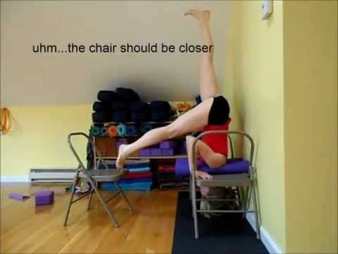 sirsasana headstand using chairs and rolled mats