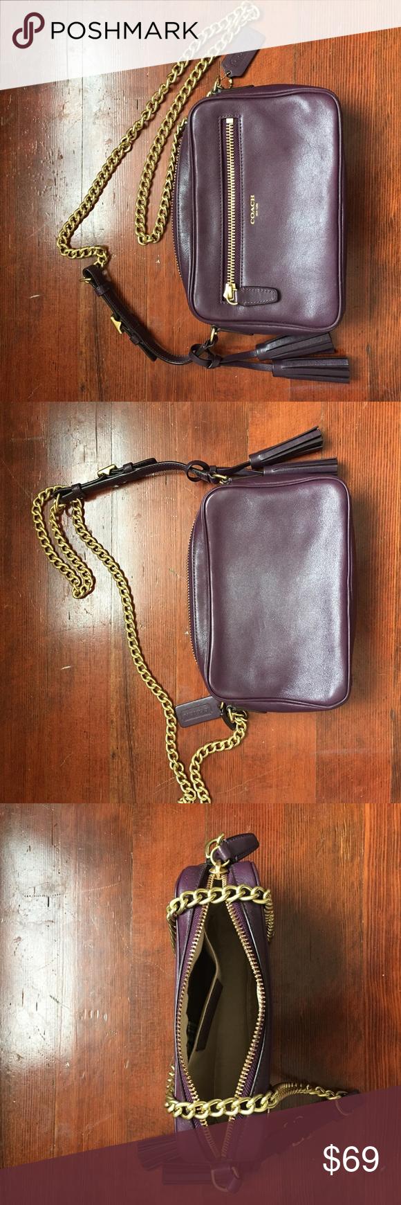 Cross body purse Gold chain cross body purse, dark purple smooth leather, front zipper pocket, plus inner pocket as well. Coach Bags Crossbody Bags