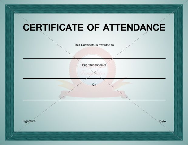 Certificate of Attendance Template CERTIFICATION OF ATTENDANCE - attendance template