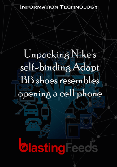Unpacking Nike's self-binding Adapt BB shoes resembles