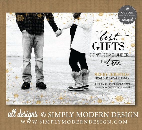 Delightful Christmas Card, Pregnancy Announcement, New Baby Www.simplymoderndesign.com