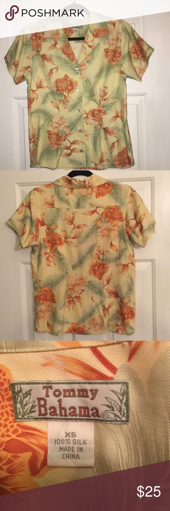 Tommy Bahama Silk Blouse Size Xs Silk Blouse Blouse Size Blouse