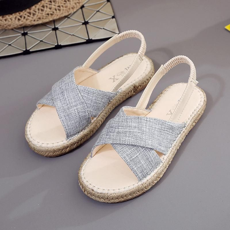 6b9326683 New Summer Women Sandals Casual Shoes Comfortable Hemp Flat Leisure Slippers  Open Toe Back Strap Simple