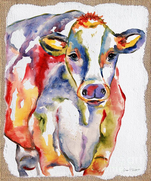 Colorful Cow-jp2488 Print By Jean Plout