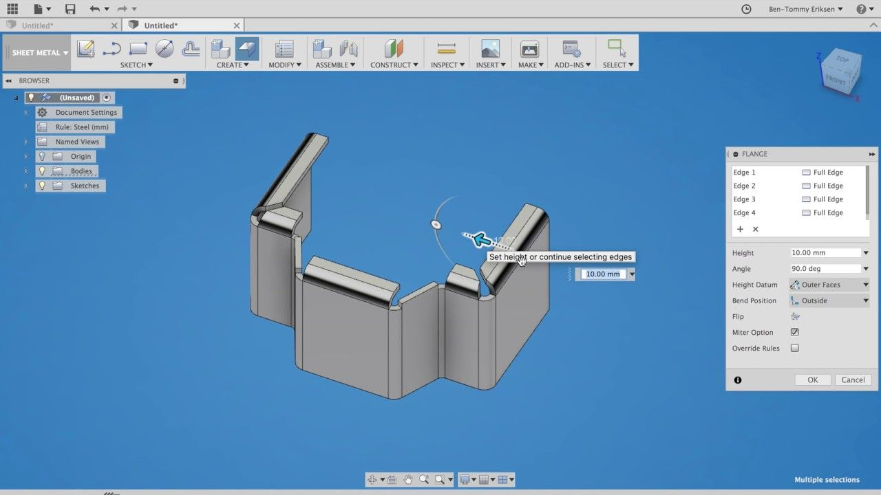 Playing With Sheet Metal In Fusion 360 With Images Fusion