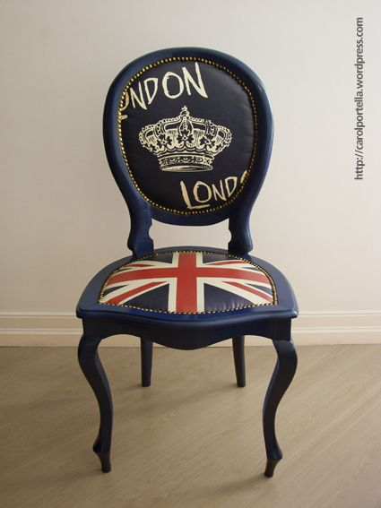 London Love and British flag chair   would be perfect for my vanity!!