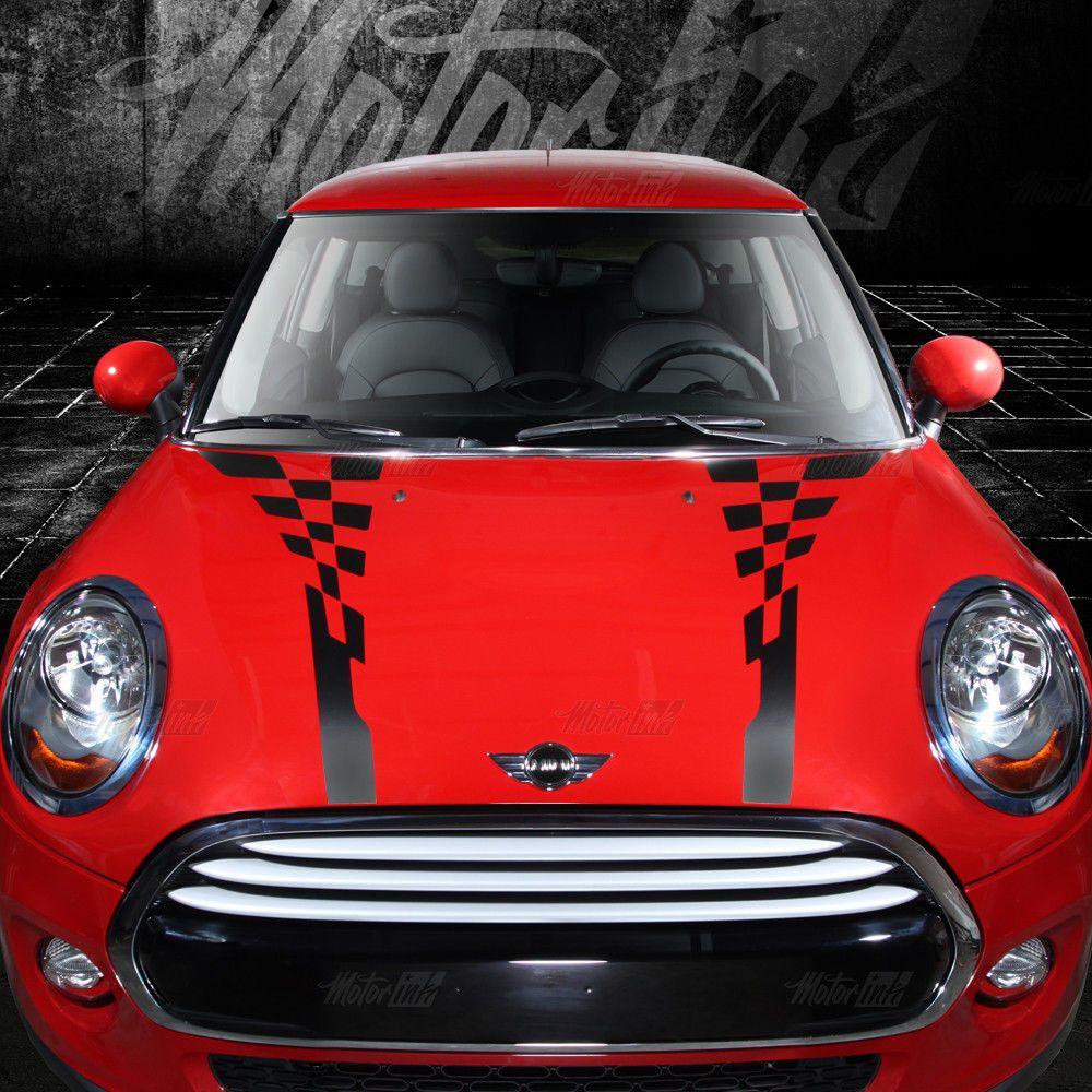 2007 2013 2014 2015 2016 Mini Cooper Checkered Hood And Boot Racing Stripes Car Stripes Mini Cooper Racing Stripes