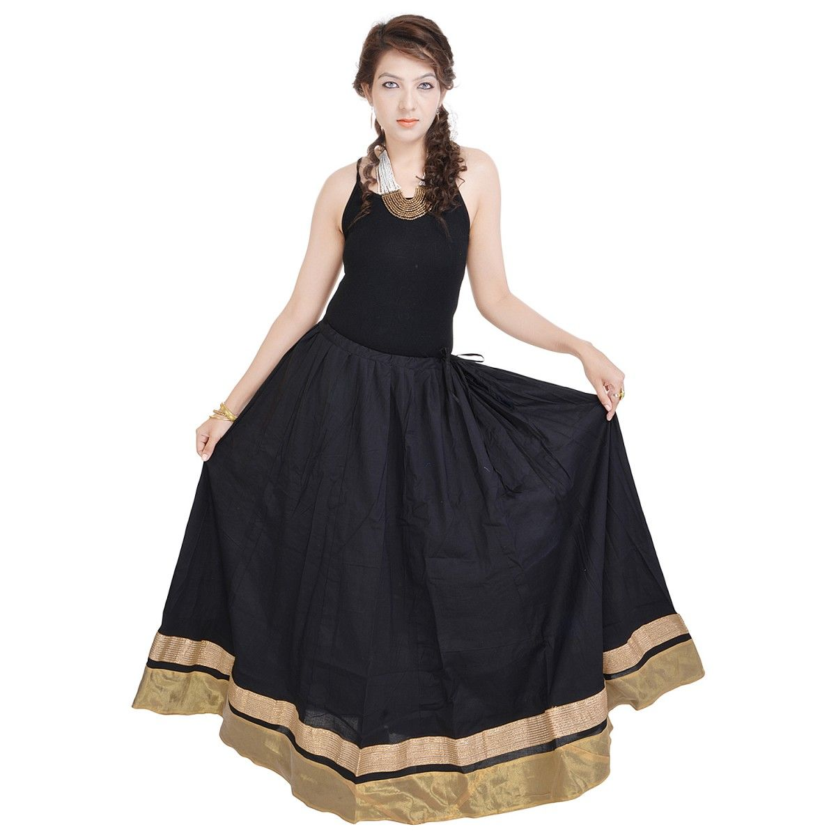 Indigocart ethnic black cotton long skirt western wear pinterest