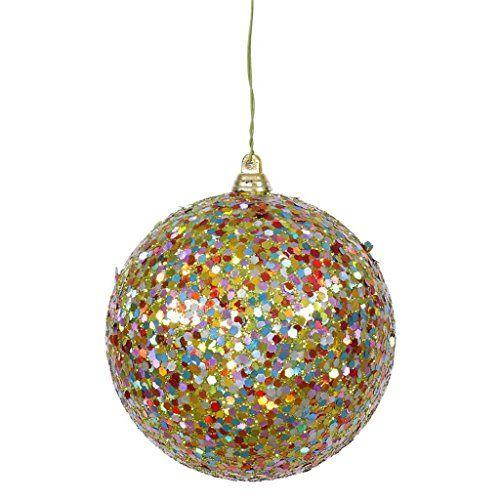 Vickerman 31684 4 Lime Multi Color Sequin Glitter Ball Christmas Tree Ornament J130013 Christmas Ornaments Top Brands Artists Designer Names Christmas Tree Ornaments Ball Ornaments Ornaments