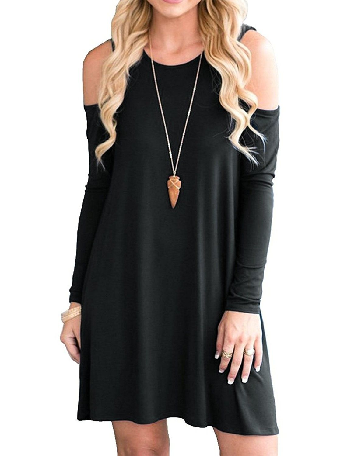 Women S Clothing Dresses Casual Women Long Sleeve Casual Dresses Pockets Cold Shoulder Loose T Shirt D Swing Shirt Dress Loose Dress Cold Shoulder Tunic Top [ 1500 x 1176 Pixel ]