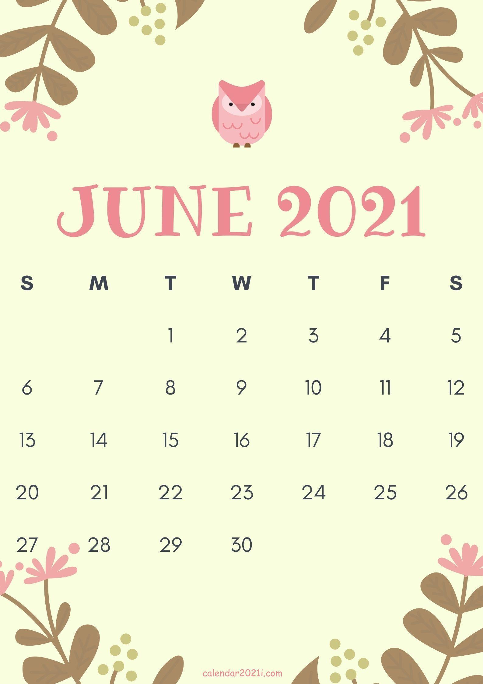 Cute June 2021 Calendar design theme layout free download