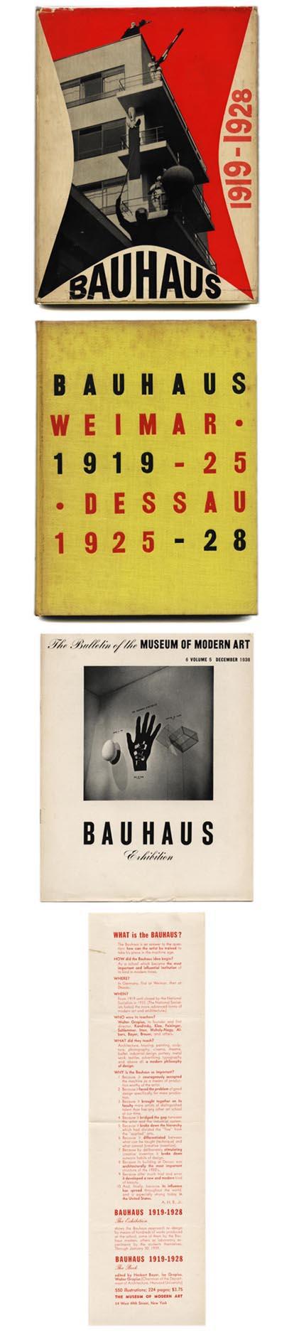 Bayer, Gropius and Gropius [Editors]: BAUHAUS 1919-1928. New York: Museum of Modern Art, 1938. With Museum of Modern Art Bauhaus Exhibition ephemera laid in.