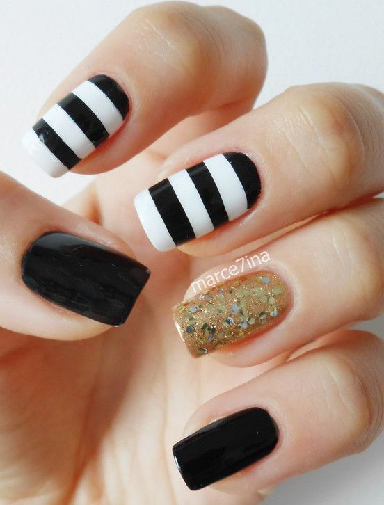 Simple Black And Gold Nail Design Ideas | Cool Nail Design Ideas - Simple Black And Gold Nail Design Ideas Cool Nail Design Ideas