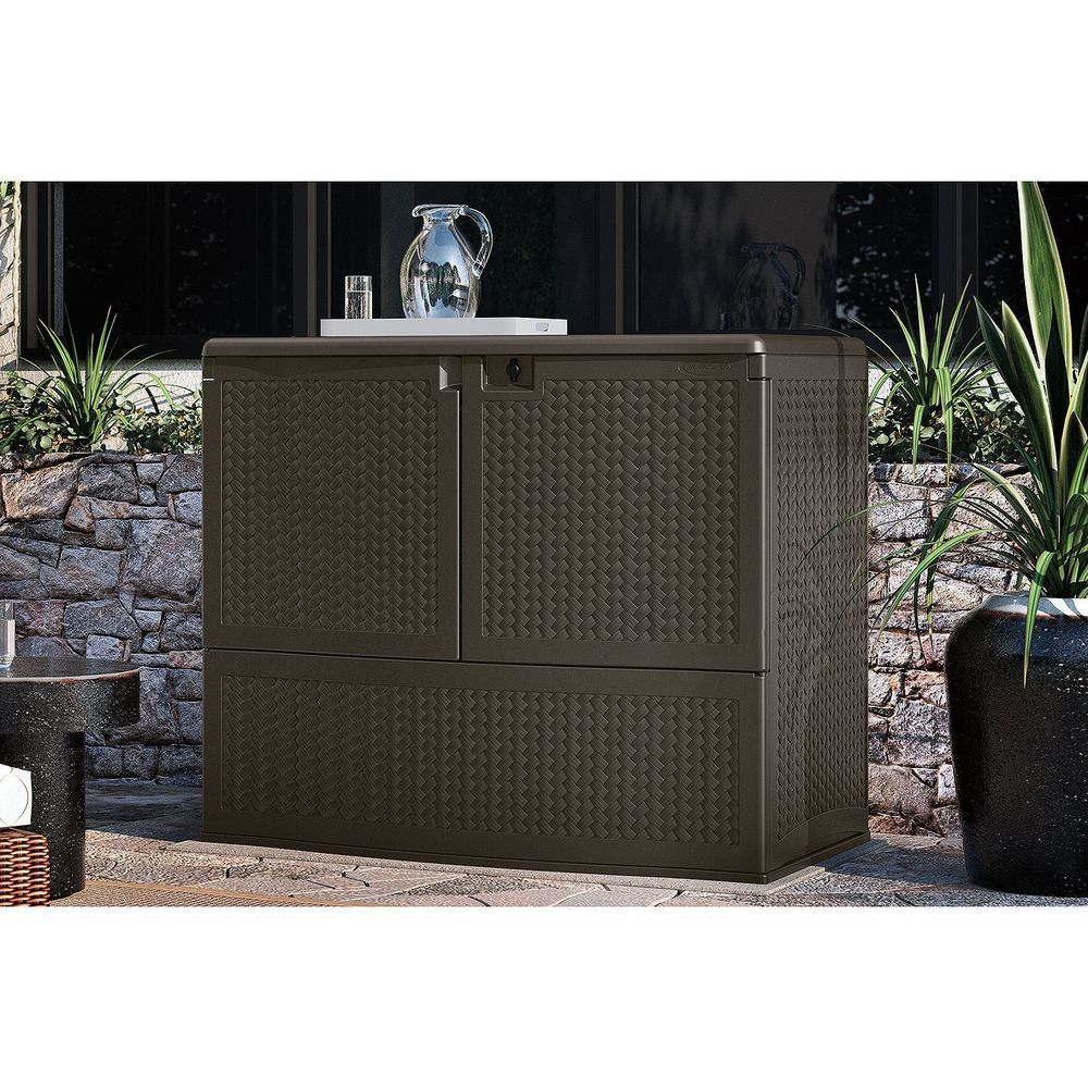 Bar Height Patio Furniture Outdoor Storage Cabinet Store Cushions