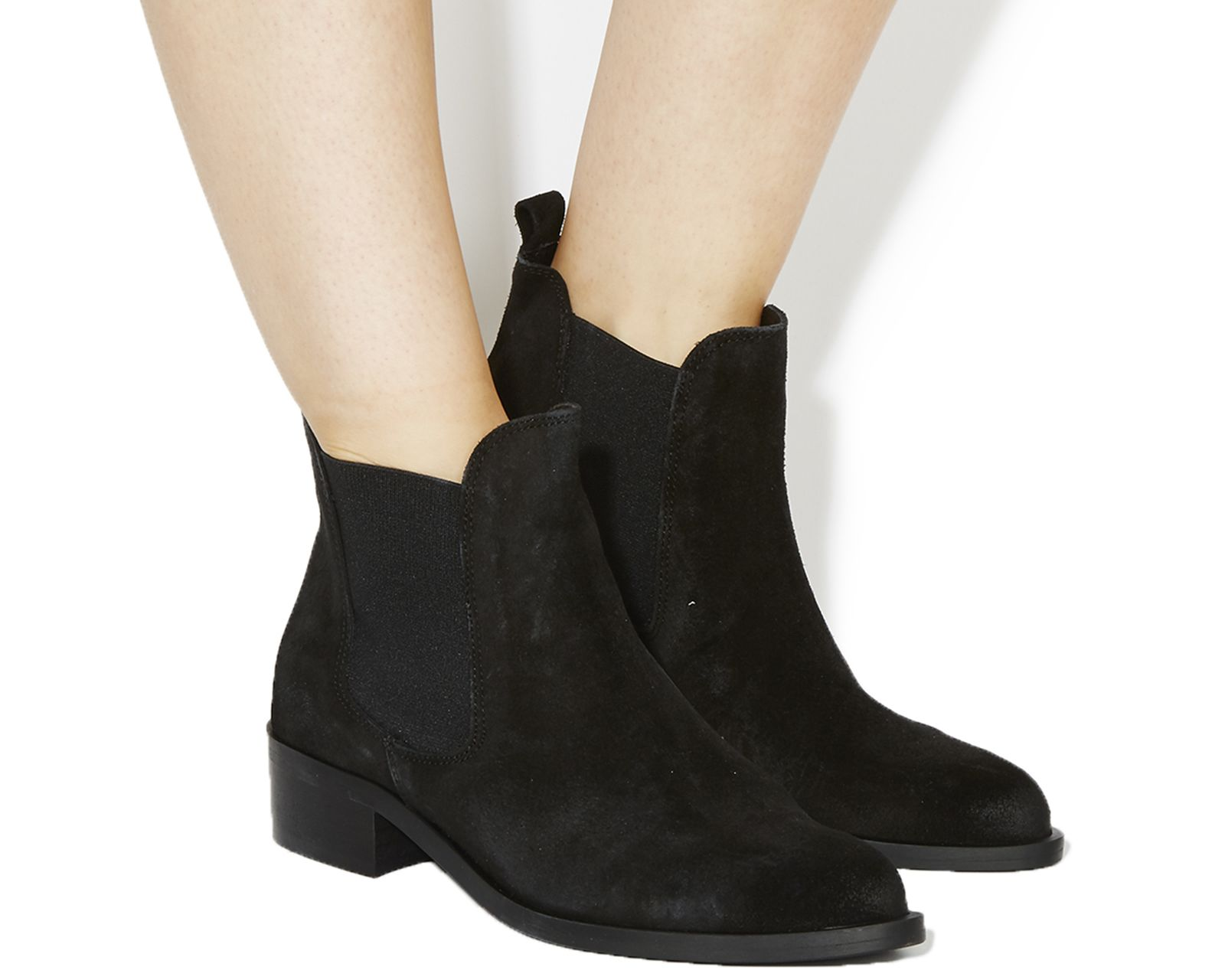 Office Corsa Pointed Low Block Heel Boots Black Suede - Ankle Boots