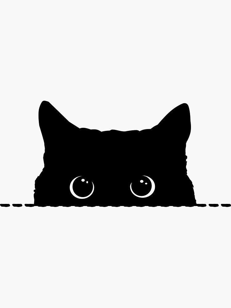 Black Cat Peeking Sticker By Nameonshirt In 2020 Black Cat Drawing Black Cat Tattoos Black Cat Art