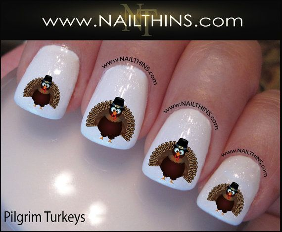 Thanksgiving Nail Decals Turkey Nail Art By Nailthins Nail Decals