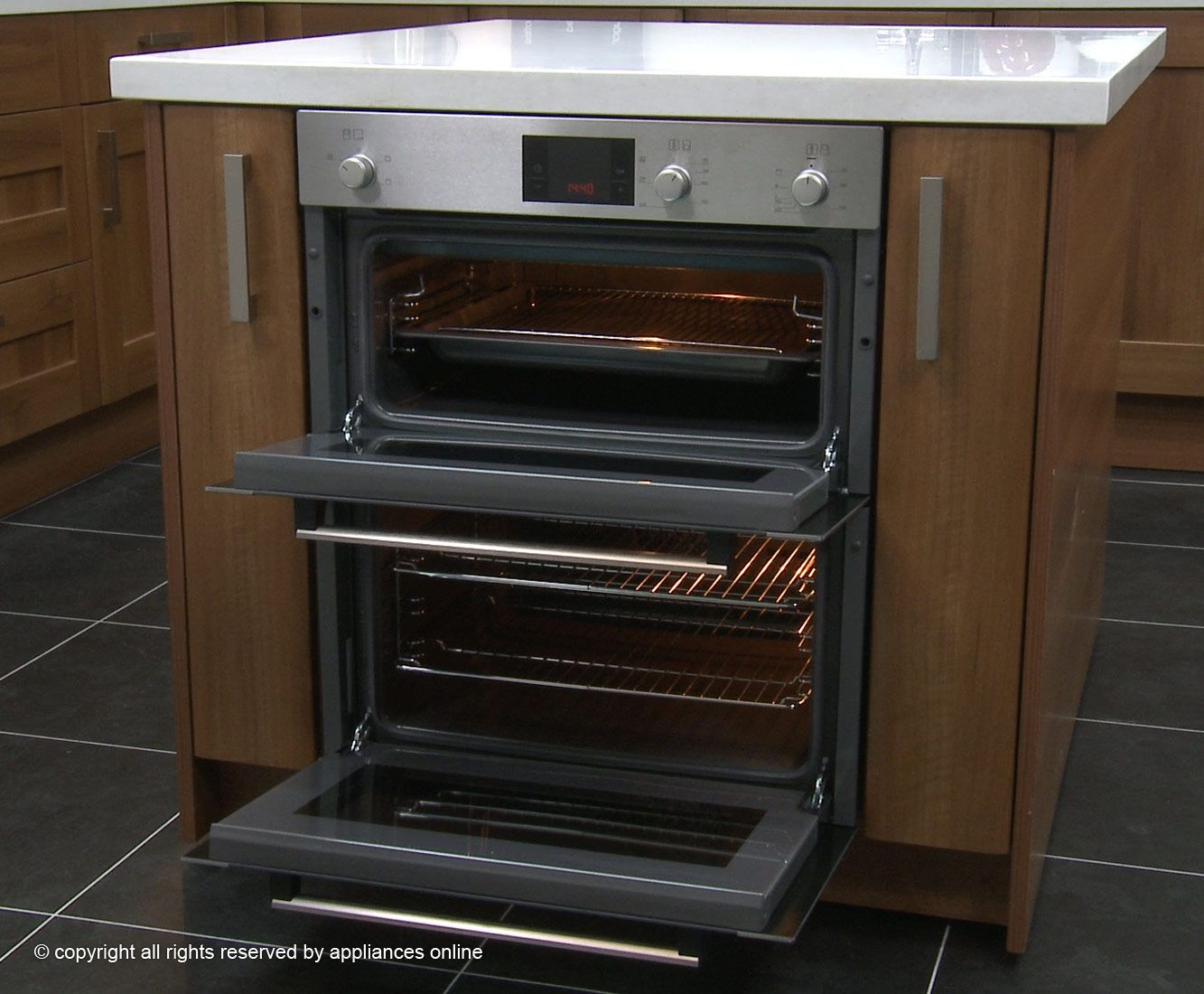 Below Counter Double Wall Oven I Like This Vs The Regular Double Wall Oven Always Feel Like I Am Gonna Wall Oven Electric Double Oven Wood Kitchen Counters