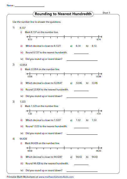 number line round to the nearest hundredth  decimals worksheets  number line round to the nearest hundredth