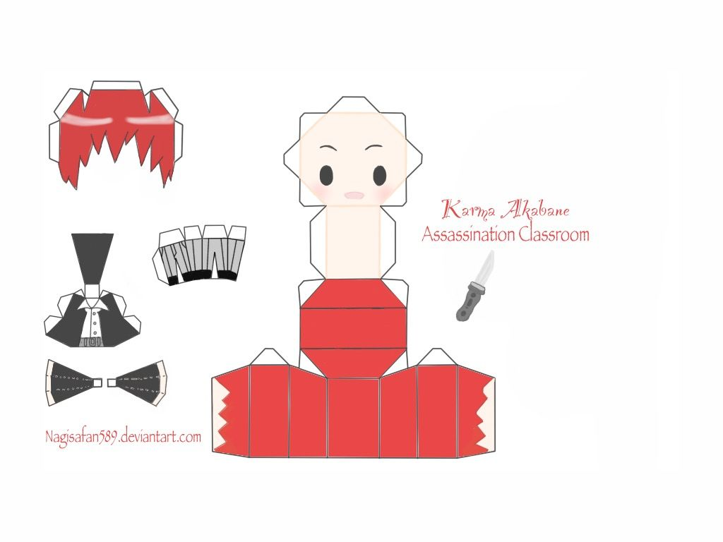 Karma Akabane Papercraft Anime Crafts Anime Paper Paper Doll Template