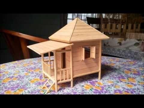 popsicle stick miniature house - beach house (custom made) - youtube