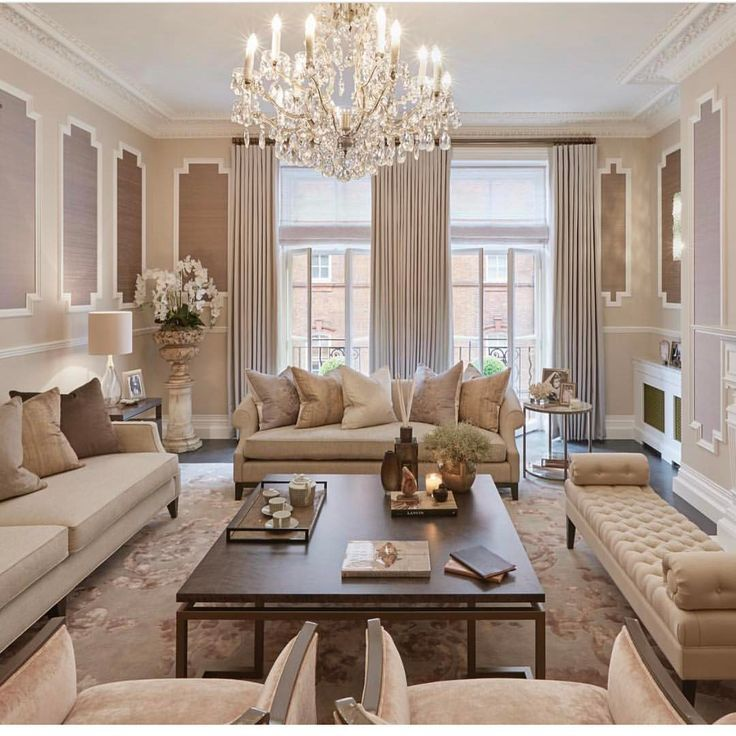 A Stunning Luxury Living Room I Love The Painted Accents On The Walls The Crystal Ch Elegant Living Room Design Formal Living Room Decor Elegant Living Room