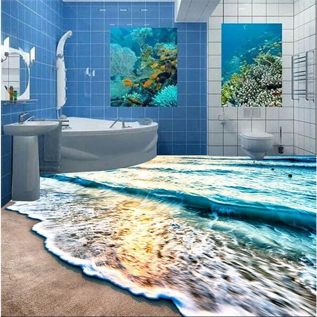 Modern 3d Floor Painting Mural Beach Blue Sea Water Ripples Non Slip Waterproof Thickened Self Ad Bodenmalerei 3d Hintergrundbilder Wandgemalde Ideen