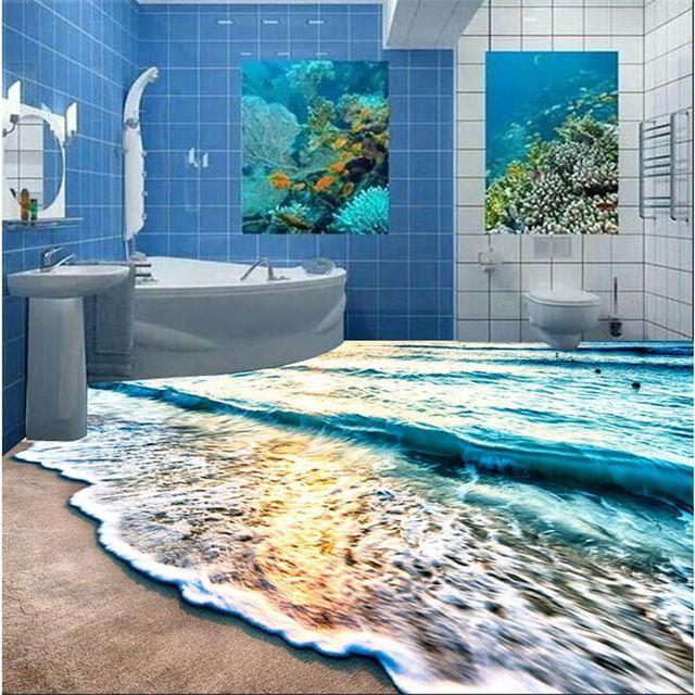 Modern 3d Floor Painting Mural Beach Blue Sea Water
