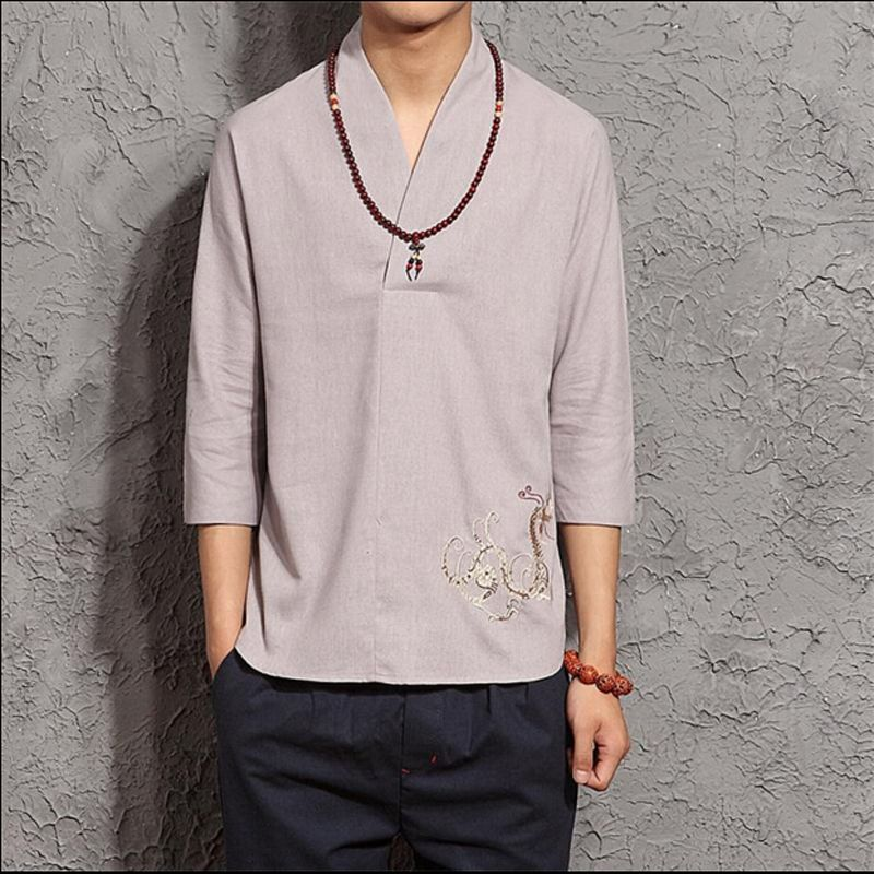 mens linen shirts mens linen long sleeve embroidered shirt in (2) colors  (mls1523