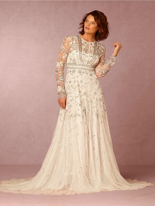 Bohemian Long Sleeved Wedding Dress with Sheer Lace Overlay and Full ...