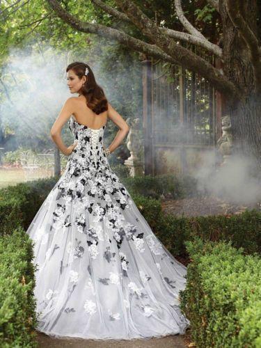 Details Zu Schwarz Spitze A Linie Ballkleid Hochzeitskleid