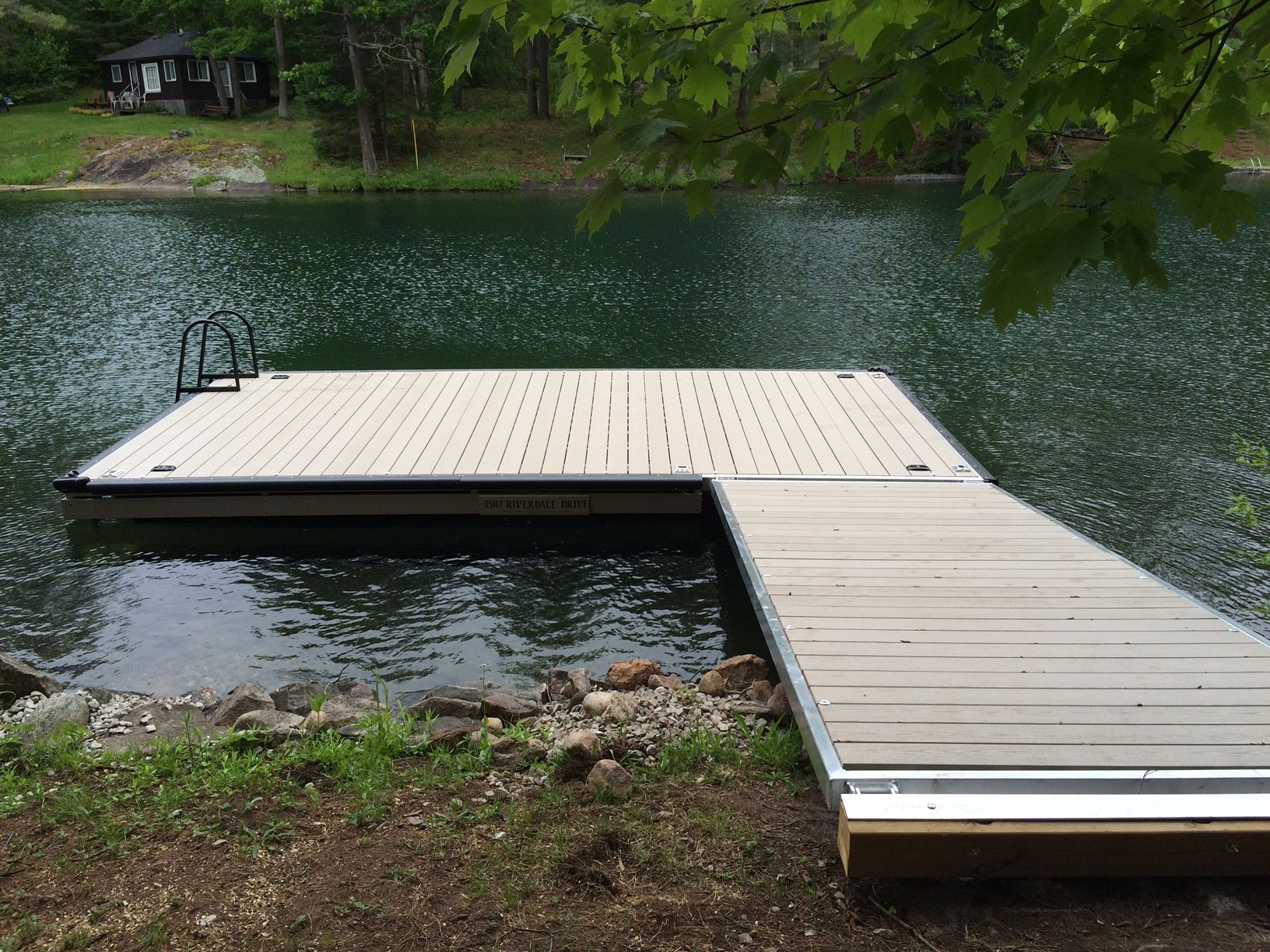 10x20 Floating Dock With Olivewood Endeck Decking Black Bumper Black Angled Ladder Located In Washago On Cottage Lounge Dock Ladder Floating Dock