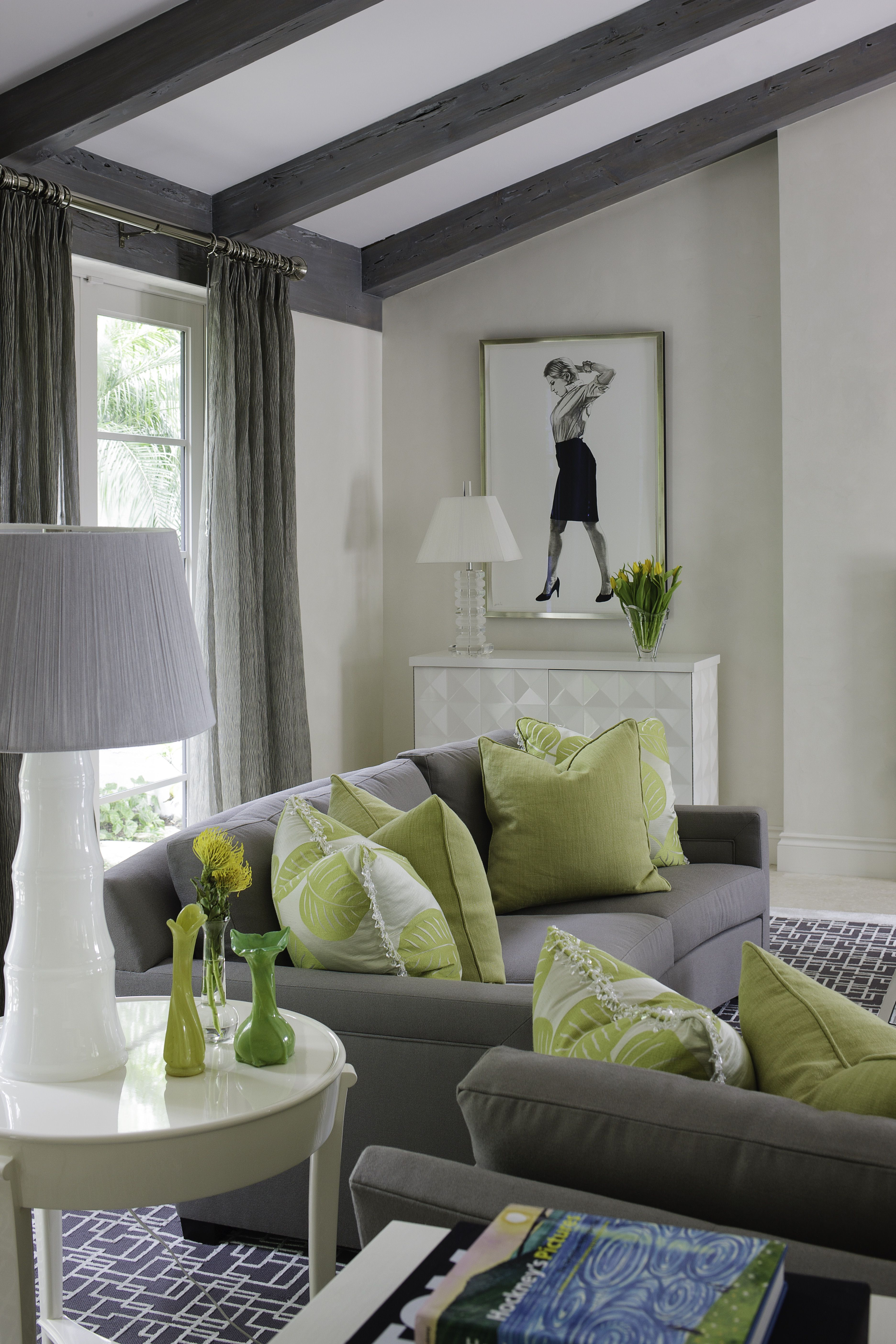 Sitting Area Lime Green Accent Pillows Interiordesign Transitional Decor Green Living Room Decor Grey And Red Living Room Living Room Green