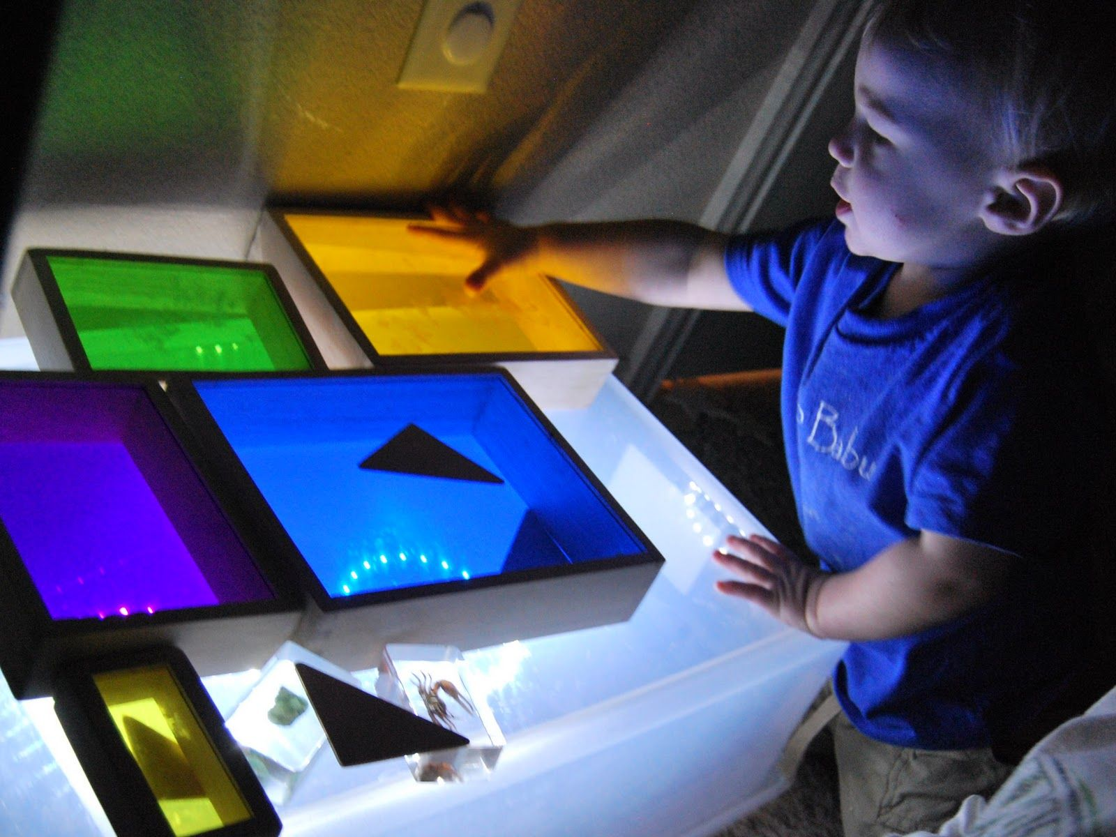 DIY light box, great for various types of sensory play
