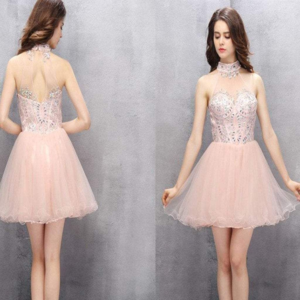New Arrival light pink halter off shoulder sexy homecoming prom gown