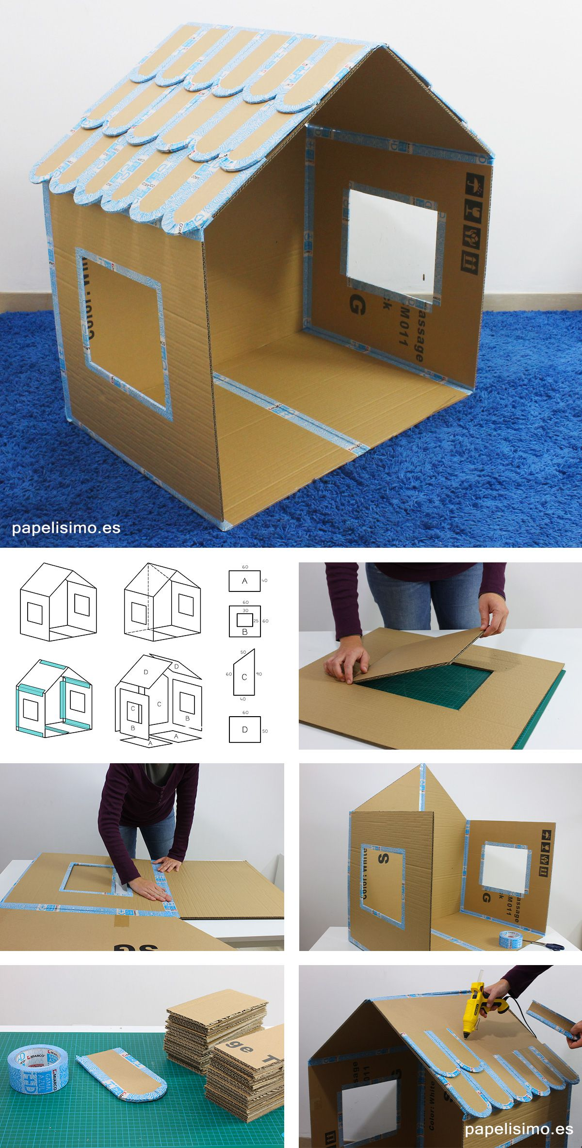 casa de carton plegable folding cardboard house diy dollhouse cardboard playhouse cardboard. Black Bedroom Furniture Sets. Home Design Ideas