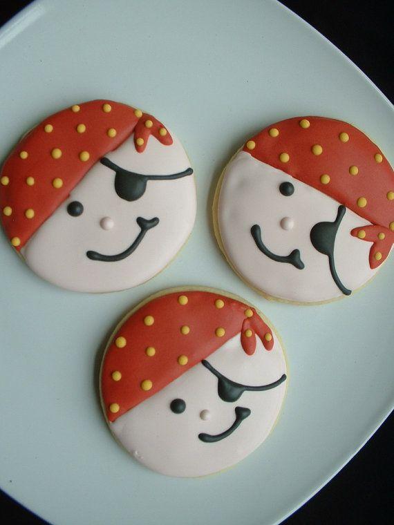 Pirate cookies 1 dozen party cookies birthday cookies decorated cookies backen kekse - Kawaii kochen ...