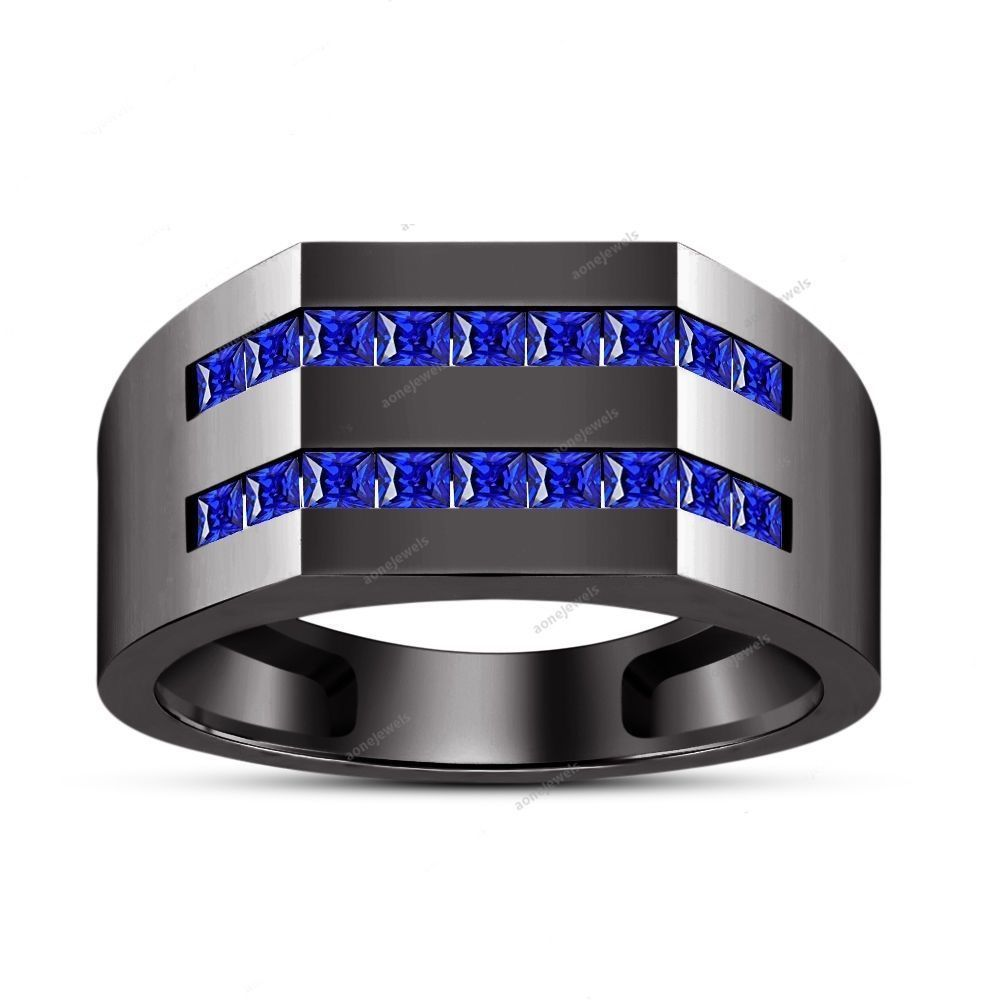 Full Black Gold Finish 925 Silver Blue Sapphire Princess-Cut Men's Wedding Ring #aonejewels