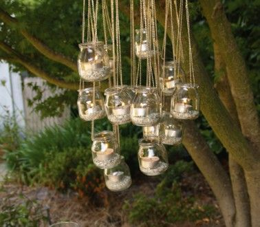 Lampion bougie forme lustre faire avec pot verre de recup jar glass and gardens for Grande table de jardin verre