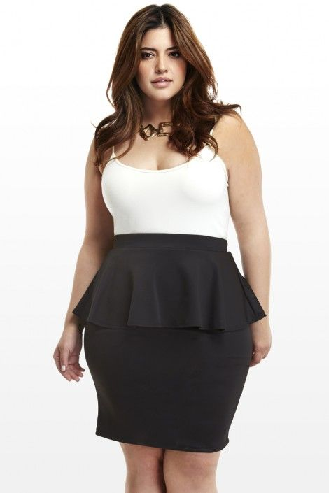 4ea8d25964977 Plus Size Clothing New Arrivals. Scuba Peplum Skirt
