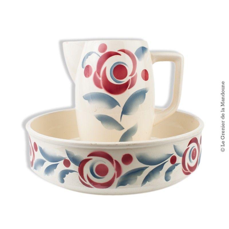 Ancien ensemble de toilette digoin sarreguemines 53 for Vasque ancienne en porcelaine