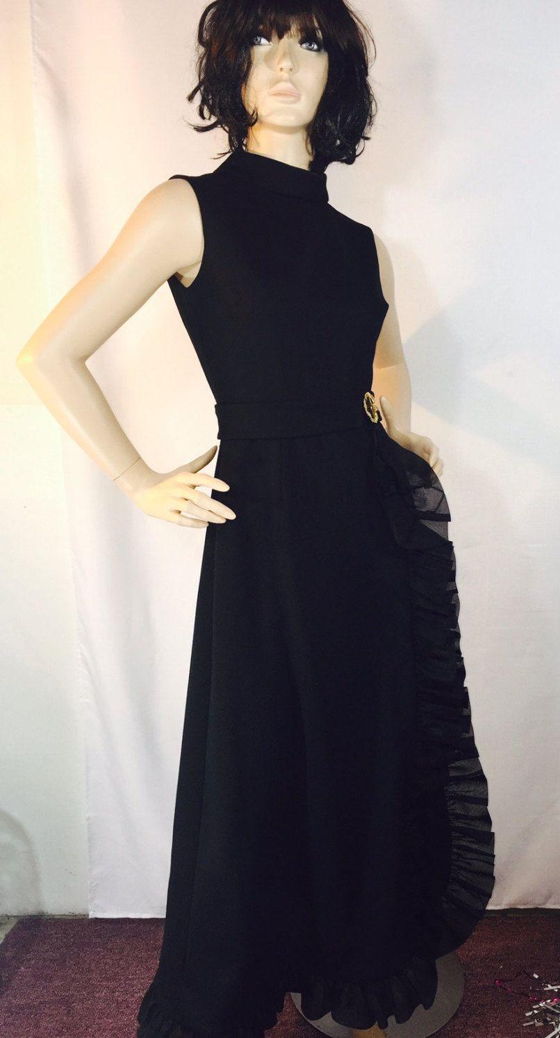 Vintage dress black sleeveless formal maxi dress with ruffles trim