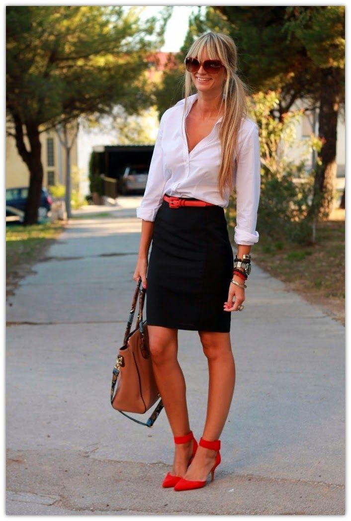 Outfit blusa blanca correo falda y negra work rojos zapatos RqrvTR