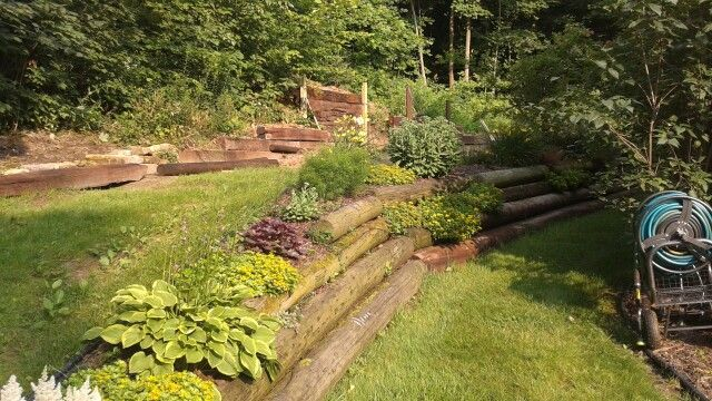Recycled telephone pole retaining wall. | My own finished projects ...