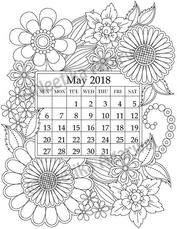 May 2018 Coloring Page - Calender, Planner, Doodle, Flowers, Instant
